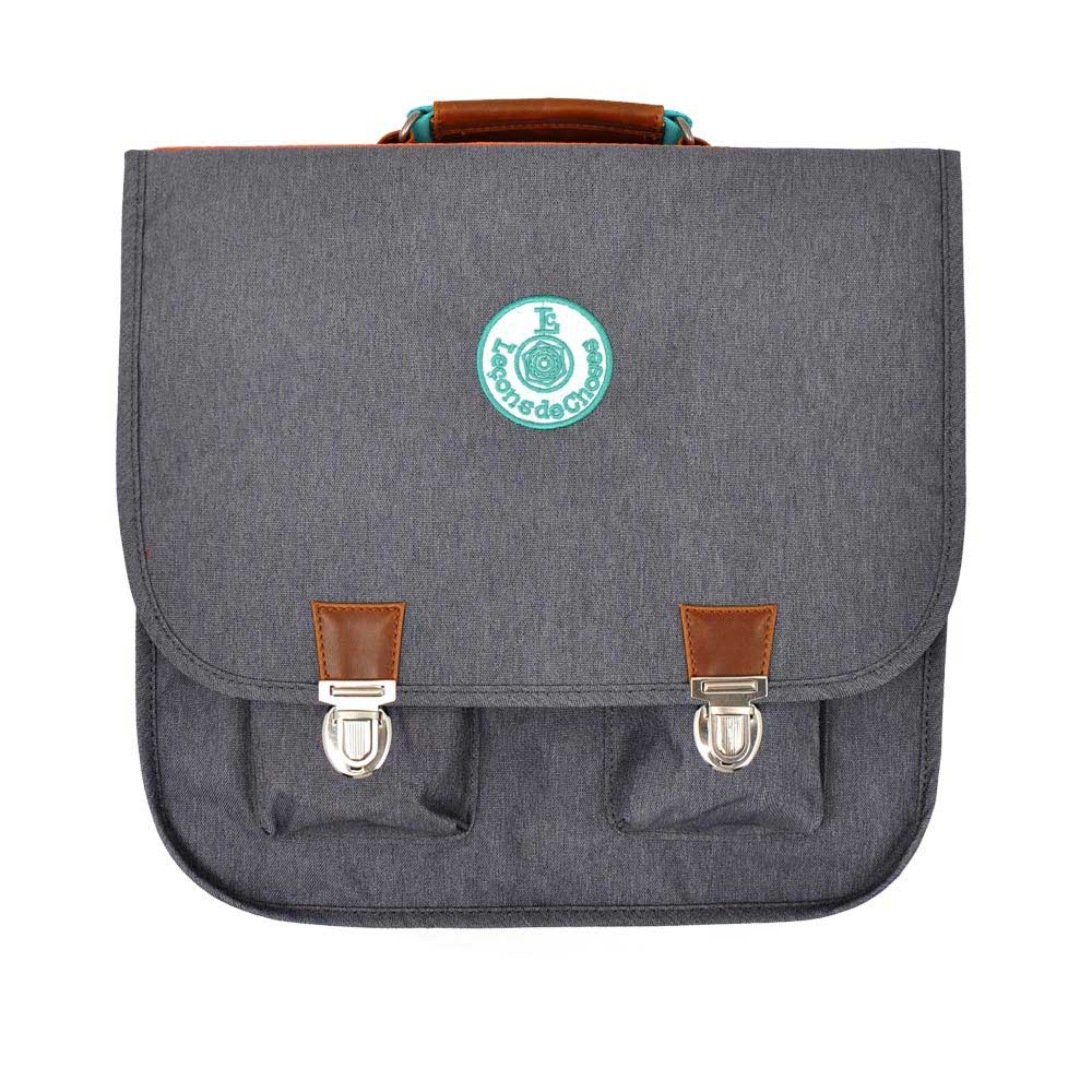 cartable vintage gris bande arc en ciel cp Leçons de choses
