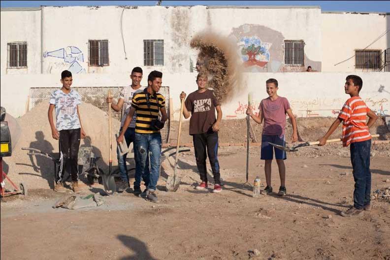 fabrication d' un skate park en palestine